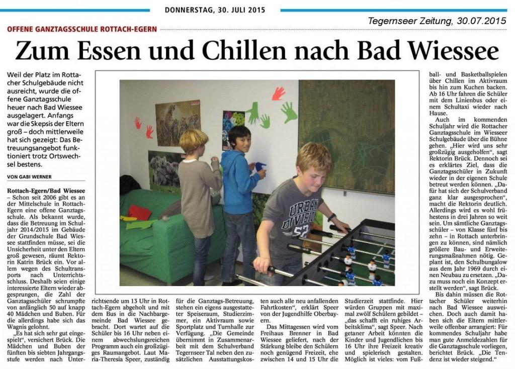 Zeitungsartikel zur offenen Ganztagsschule vom 30.07.2015 (Tegernseer Zeitung)